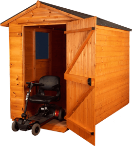 mobility scooter with shed